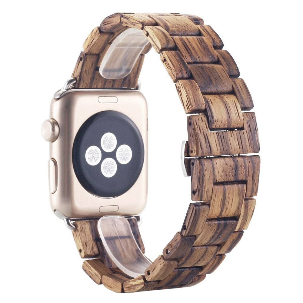 Khaki Brown Wood Strap For Apple Watch - Oakfin