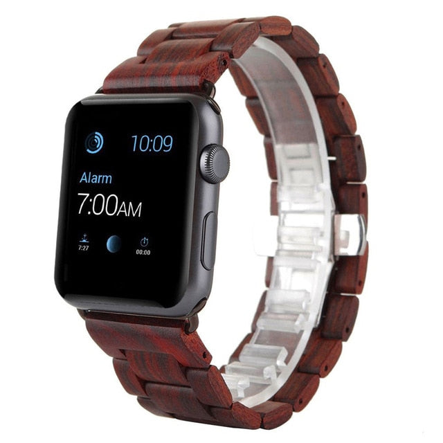 Red Wood Strap For Apple Watch - Oakfin