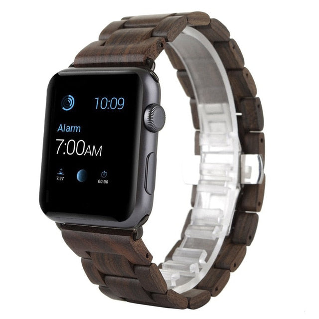 Dark Brown Wood Strap For Apple Watch - Oakfin