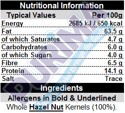 Hazel Nuts - Whole Natural