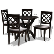 Baxton Studio Savina Modern and Contemporary Grey Fabric Upholstered and Dark Brown Finished Wood 5-Piece Dining Set