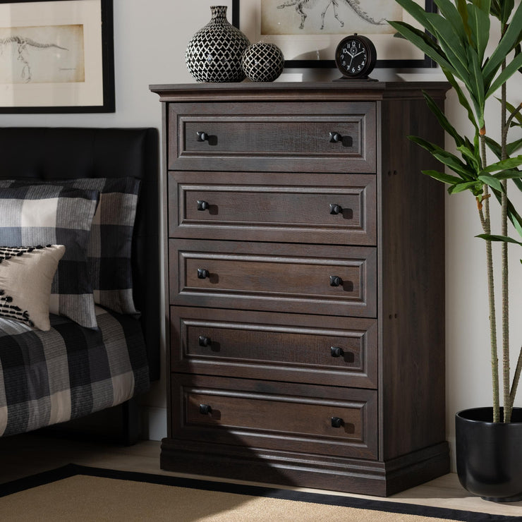 Baxton Studio Nolan Traditional Transitional Hazel Walnut Brown Finished 5-Drawer Wood Chest