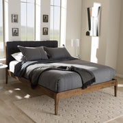 Baxton Studio Clifford Mid-Century Dark Grey Fabric and Medium Brown Finish Wood Queen Size Platform Bed