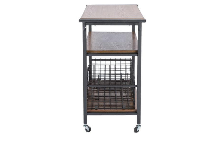Baxton Studio Lancashire Brown Wood & Metal Kitchen Cart