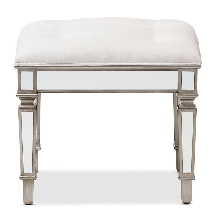 Baxton Studio Marielle Hollywood Regency Glamour Style Off White Fabric Upholstered Mirrored Ottoman Vanity Bench