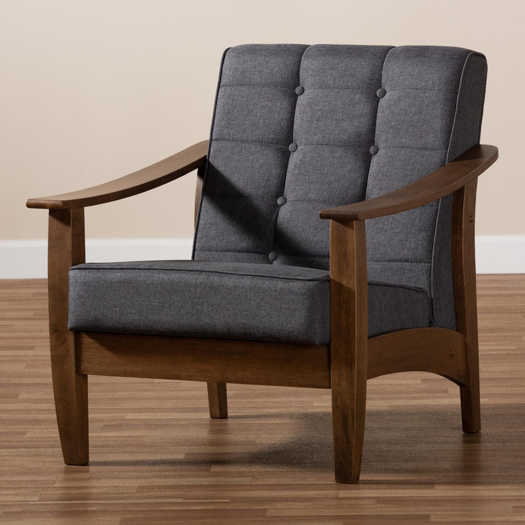 Baxton Studio Larsen Mid-Century Modern Gray Fabric Upholstered Walnut Wood Lounge Chair