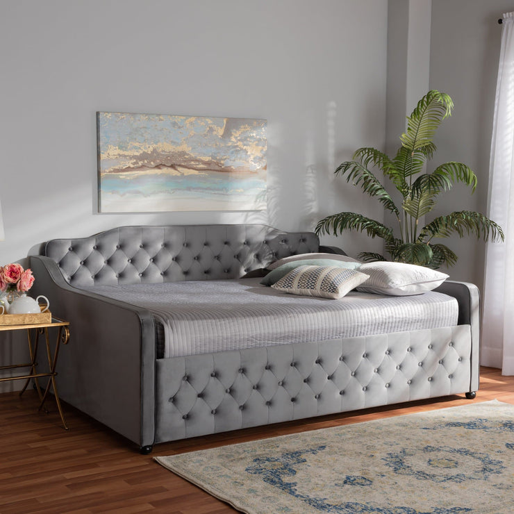 Baxton Studio Freda Transitional and Contemporary Grey Velvet Fabric Upholstered and Button Tufted Queen Size Daybed