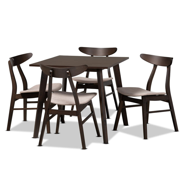 Baxton Studio Britte Mid-Century Modern Beige Fabric Upholstered Dark Oak Brown Finished 5-Piece Wood Dining Set