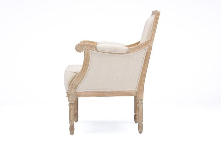 Baxton Studio Chavanon Wood & Light Beige Linen Traditional French Accent Chair