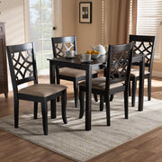 Baxton Studio Mael Modern and Contemporary Sand Fabric Upholstered Espresso Brown Finished 5-Piece Wood Dining Set