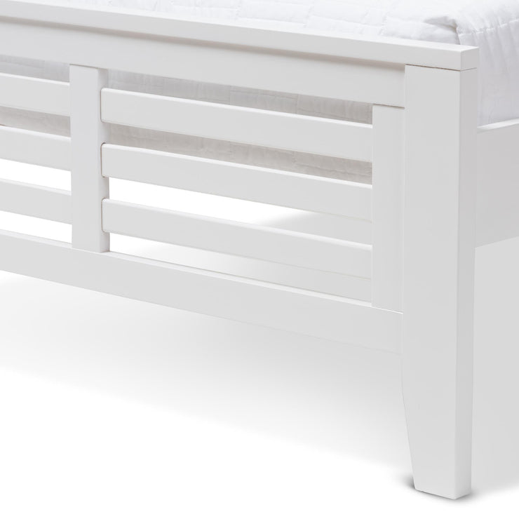 Baxton Studio Sedona Modern Classic Mission Style White-Finished Wood Twin Platform Bed with Trundle
