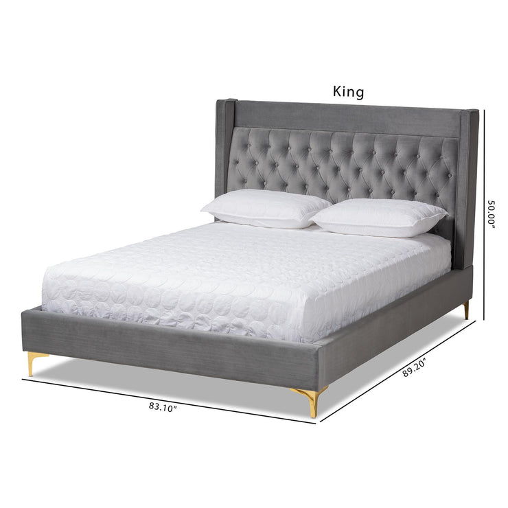 Baxton Studio Valery Modern and Contemporary Dark Gray Velvet Fabric Upholstered King Size Platform Bed with Gold-Finished Legs