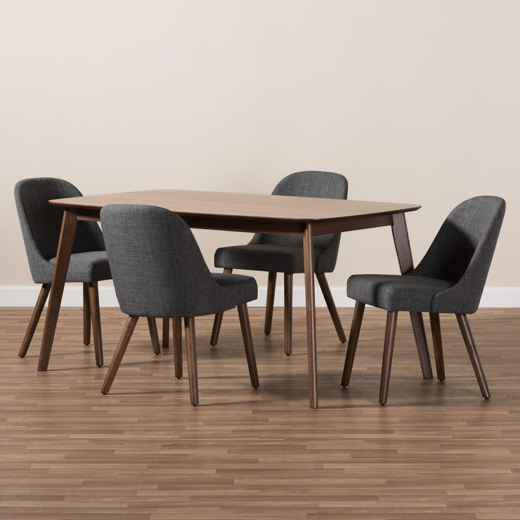 Baxton Studio Cody Mid-Century Modern Dark Grey Fabric Upholstered Walnut Finished Wood 5-Piece Dining Set
