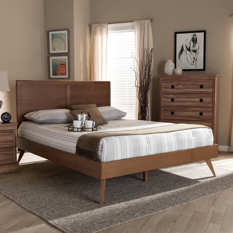 Baxton Studio Zenon Mid-Century Modern Walnut Brown Finished Wood Queen Size Platform Bed