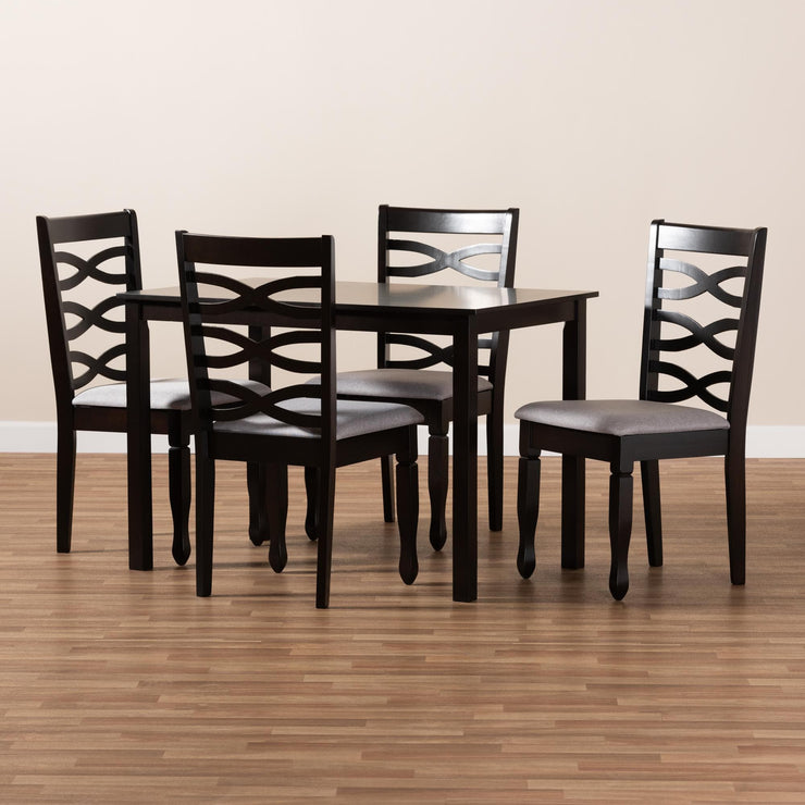 Baxton Studio Lanier Modern and Contemporary Gray Fabric Upholstered Espresso Brown Finished Wood 5-Piece Dining Set