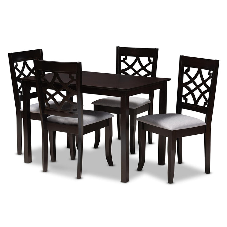 Baxton Studio Mael Modern and Contemporary Grey Fabric Upholstered Espresso Brown Finished 5-Piece Wood Dining Set