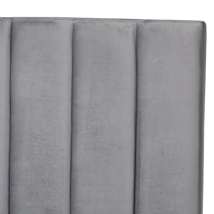 Baxton Studio Fiorenza Glam and Luxe Grey Velvet Fabric Upholstered Queen Size Panel Bed with Extra Wide Channel Tufted Headboard