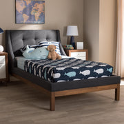 Baxton Studio Louvain Modern and Contemporary Dark Grey Fabric Upholstered Walnut-Finished Twin Sized Platform Bed