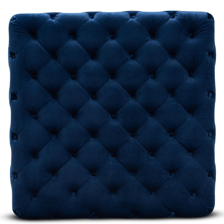Baxton Studio Verene Glam and Luxe Royal Blue Velvet Fabric Upholstered Gold Finished Square Cocktail Ottoman
