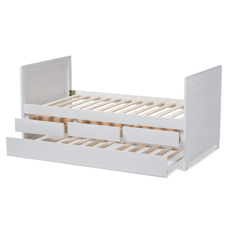 Baxton Studio Linna Modern and Contemporary White-Finished Daybed with Trundle