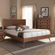 Baxton Studio Artemis Mid-Century Modern Walnut Brown Finished Wood Queen Size Platform Bed