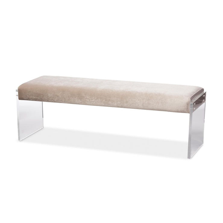Baxton Studio Hildon Modern and Contemporary Beige Microsuede Fabric Upholstered Lux Bench with Paneled Acrylic Legs
