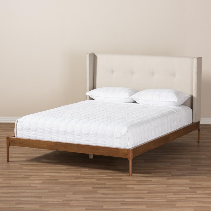 Baxton Studio Brooklyn Mid-Century Modern Walnut Wood Beige Fabric King Size Platform Bed