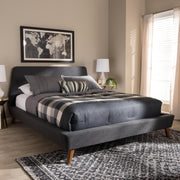 Baxton Studio Sinclaire Modern and Contemporary Dark Grey Fabric Upholstered Walnut-Finished Queen Sized Platform Bed