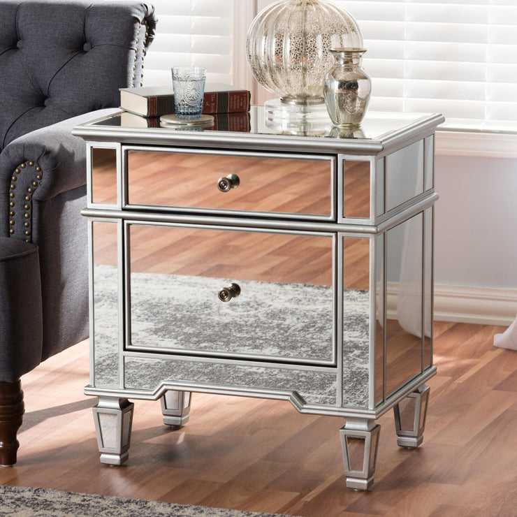 Baxton Studio Sussie Hollywood Regency Glamour Style Mirrored 2-Drawer Nightstand