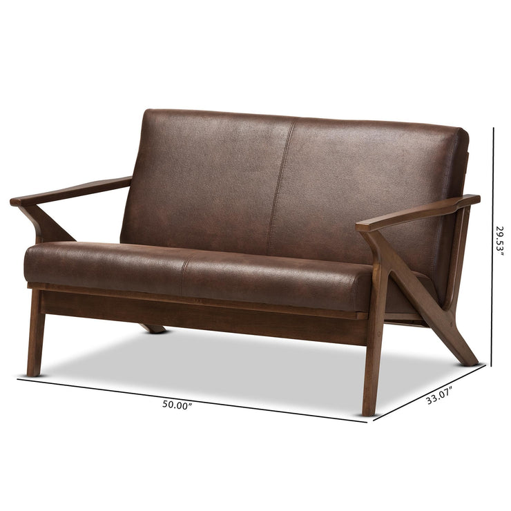 Baxton Studio Bianca Mid-Century Modern Walnut Wood Dark Brown Distressed Faux Leather 2-Seater Loveseat
