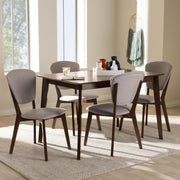 Baxton Studio Tarelle Mid-Century Modern Walnut-Finished Light Grey Fabric Upholstered 5-Piece Dining Set