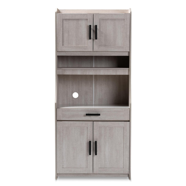 Baxton Studio Portia Modern and Contemporary 6-Shelf White-Washed Wood Kitchen Storage Cabinet