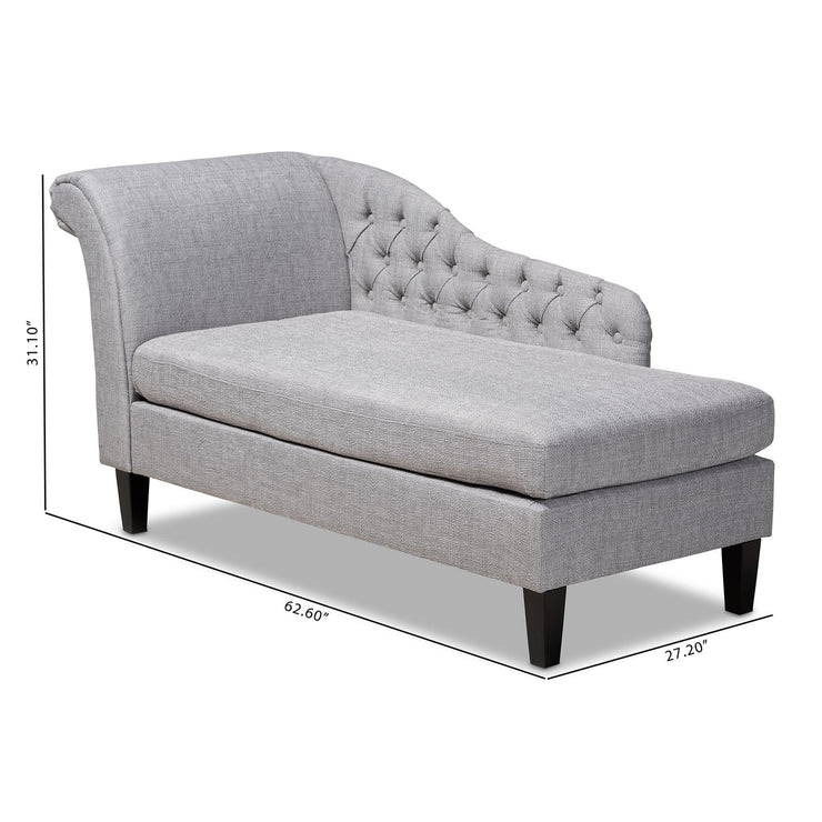 Baxton Studio Florent Modern and Contemporary Grey Fabric Upholstered Black Finished Chaise Lounge