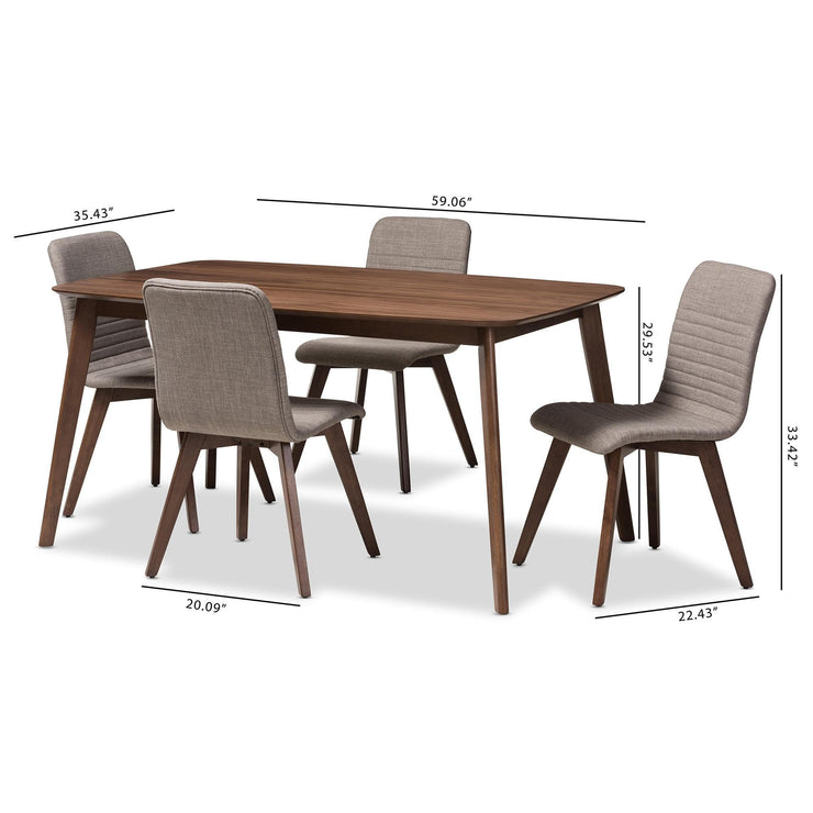 Baxton Studio Sugar Mid-Century Modern Light Grey Fabric Upholstered Walnut Wood Finished 5-Piece Dining Set