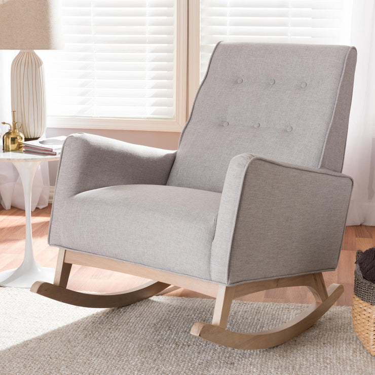 Baxton Studio Marlena Mid-Century Modern Greyish Beige Fabric Upholstered Whitewash Wood Rocking Chair