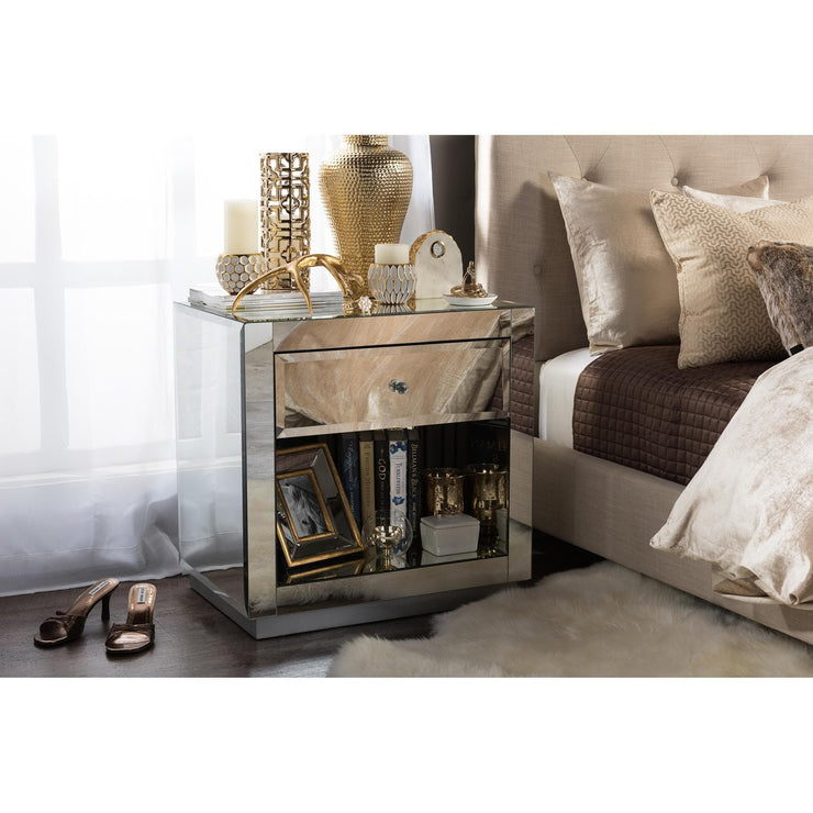 Baxton Studio Rochadh Modern and Contemporary Hollywood Glamour Style 1-drawer and 1-shelf Nightstand and Bedside Table