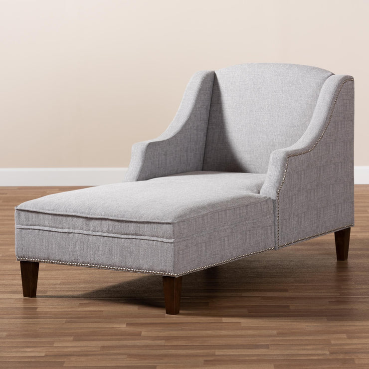 Baxton Studio Leonie Modern and Contemporary Grey Fabric Upholstered Wenge Brown Finished Chaise Lounge