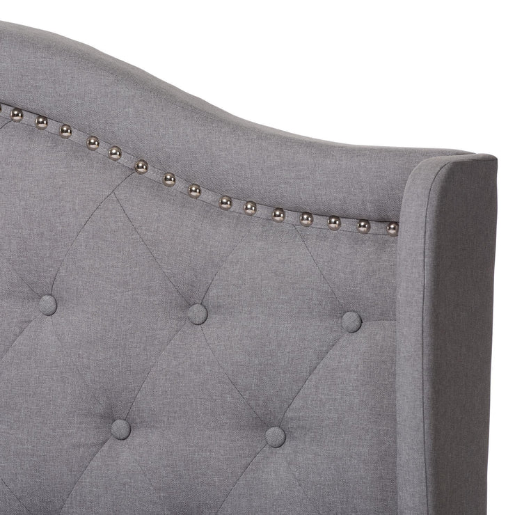 Baxton Studio Aden Modern and Contemporary Grey Fabric Upholstered King Size Bed