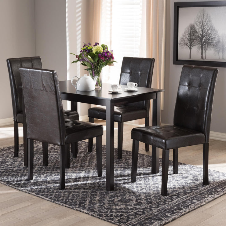 Baxton Studio Avery Modern and Contemporary Dark Brown Faux Leather Upholstered 5-Piece Dining Set
