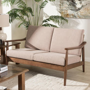Baxton Studio Venza Mid-Century Modern Walnut Wood Light Brown Fabric Upholstered 2-Seater Loveseat