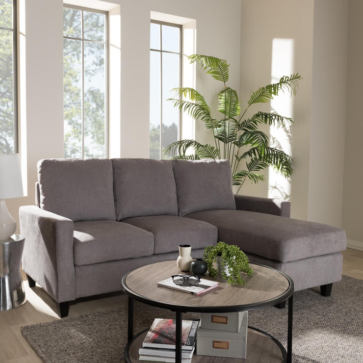 Baxton Studio Greyson Modern And Contemporary Light Grey Fabric Upholstered Reversible Sectional Sofa