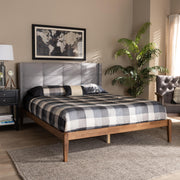 Baxton Studio Edmond Modern and Contemporary Grey Fabric Upholstered and Ash Walnut Brown Finished Wood Queen Size Platform Bed