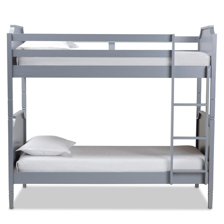 Baxton Studio Mariana Traditional Transitional Grey Finished Wood Twin Size Bunk Bed