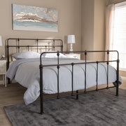 Baxton Studio Ginette Vintage Industrial Antique Bronze Finished Metal Queen Size Platform Bed