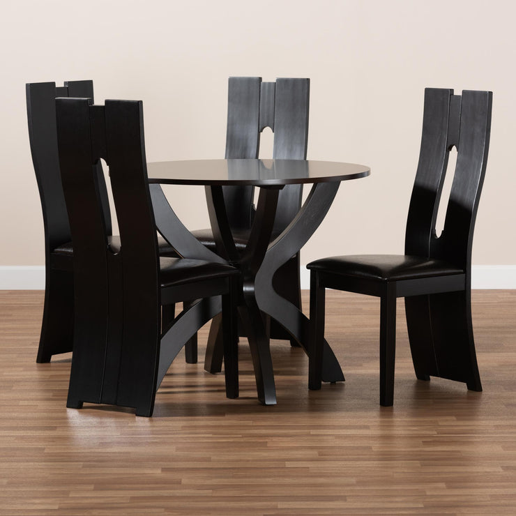 Baxton Studio Ronda Modern and Contemporary Dark Brown Faux Leather Upholstered and Dark Brown Finished Wood 5-Piece Dining Set