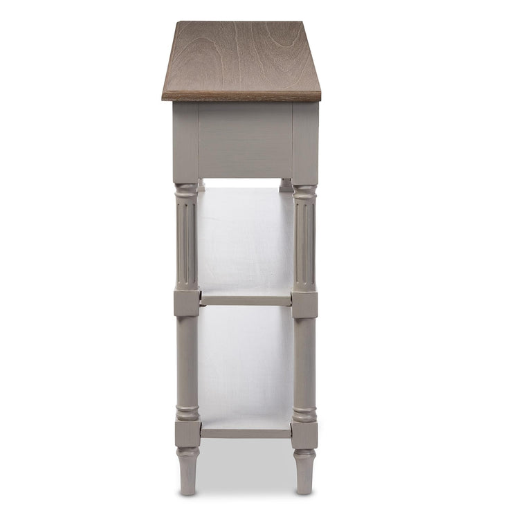 Baxton Studio Edouard French Provincial Style White Wash Distressed Wood and Grey Two-tone 2-drawer Console Table