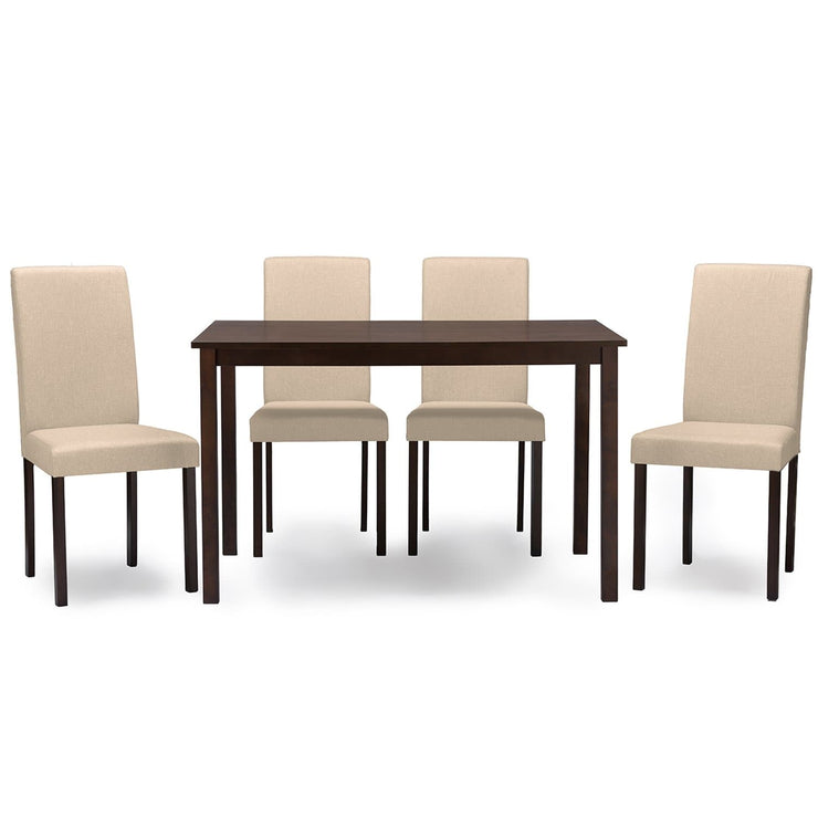 Baxton Studio Andrew Contemporary Espresso Wood Beige Fabric 5 PC Dining Set