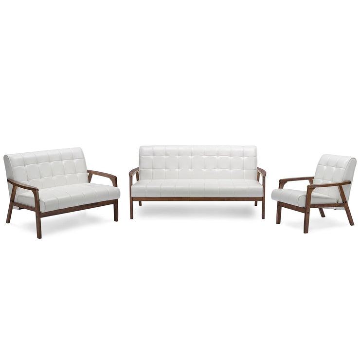 Baxton Studio Mid-Century Masterpieces 3 Pieces Living Room Set - White