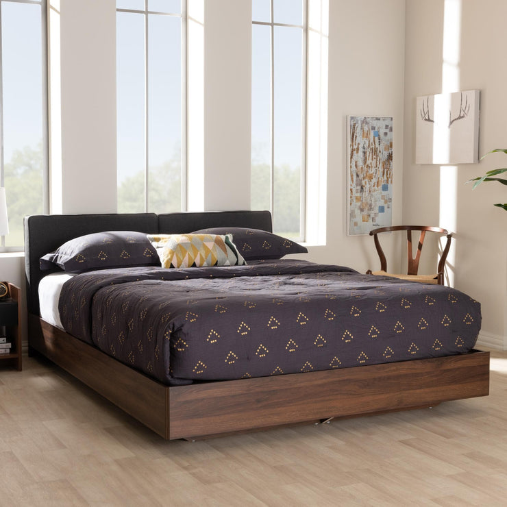 Baxton Studio Iselin Mid-Century Modern Brown Finished Dark Grey Fabric Upholstered Queen Sized Storage Platform Bed