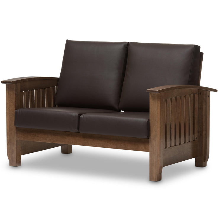 Baxton Studio Charlotte Modern Classic Mission Style Walnut Brown Wood and Dark Brown Faux Leather 2-Seater Loveseat